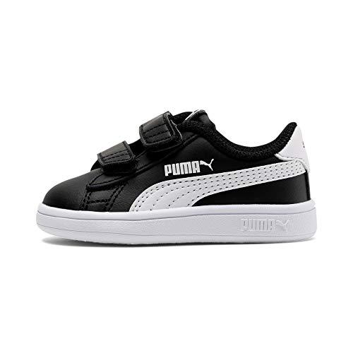 PUMA Unisex Baby Smash v2 L V Inf Sneaker, Black White, 26 EU