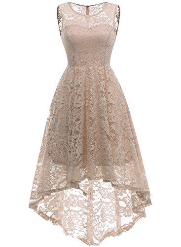 MuaDress 6006 Elegante Abendkleider Cocktailkleider Damenkleider Brautjungfernkleider aus Spitzen Knielange Rockabilly Ballkleid Rund Ausschnitt Hellgold XS