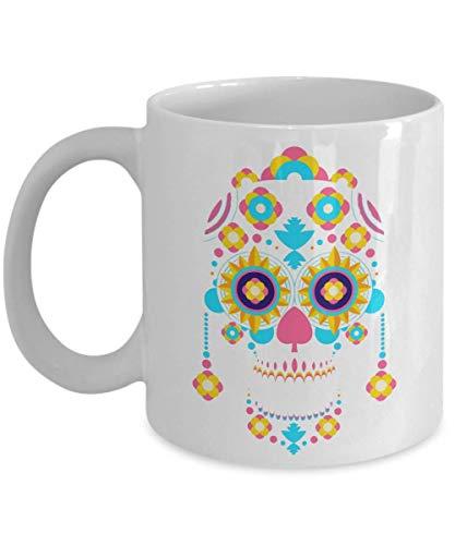Day of the dead azucar calavera sugar skull taza de café, dia de los muertos tazas de cerámica mexicana calaveritas regalos, esqueleto decorativo de halloween