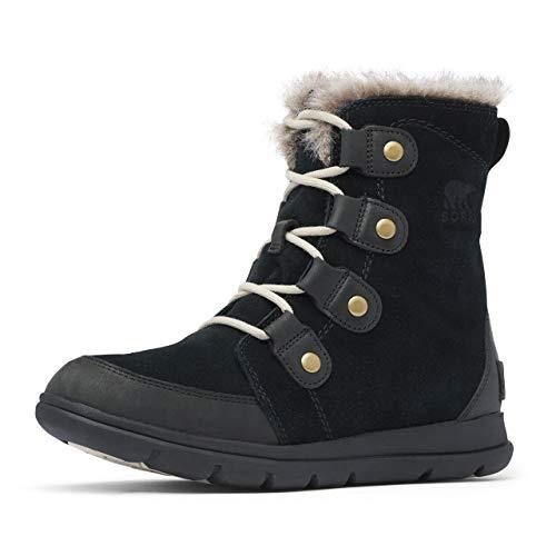 Sorel Women's Explorer Joan Boot - Light Rain, Snow - Waterproof - Black, Dark Stone - Size 8