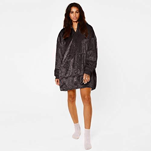 Sienna Crushed Velvet Velour Sherpa Fleece Hoodie Blanket Wearable Soft Oversized Thermal Throw...