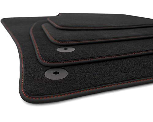 kh Teile Fußmatten passend für Octavia III 5E / Combi/RS Velours Premium Qualität Automatten 4-teilig Schwarz, Rote Ziernaht