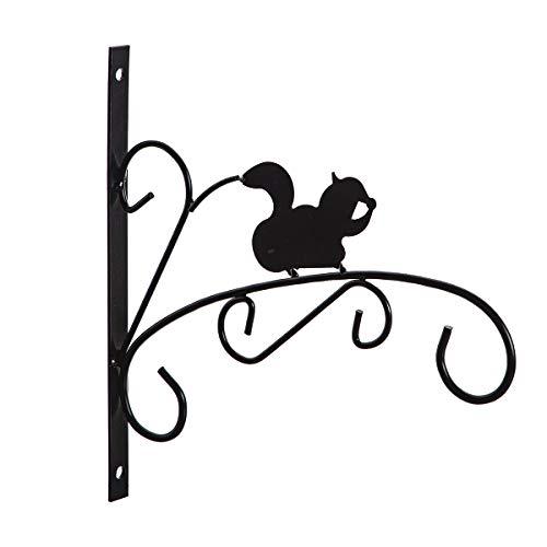 Wedestock Patère en métal Noir pour jardinière, Corbeille à Suspendre Motif écureuil