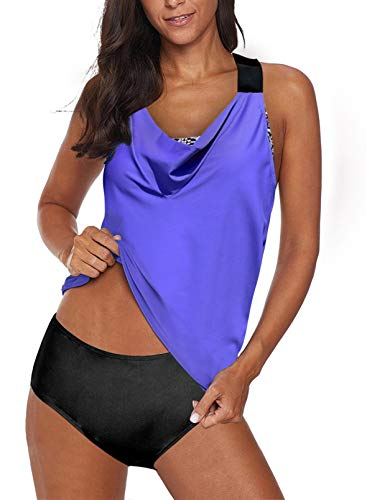 Aleumdr Womens Blouson Striped Printed Two Piece Tankini Strappy T-Back Push up Tankini Top with Bottom - blue - Large