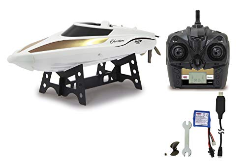 Obsession Speedboot 2,4G Li-Ion 7,4V - Akkustandsanzeige am Sender, wassergekühlter Motor, doppelter Rumpfverschluß mit Dichtung, 2-facher Schutz der Bootselektronik