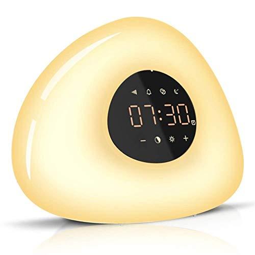 HUBi Wake-up Light Wecker, Sonnenaufgang Wake-up Sonnenuntergang Schlafmittel Bunte Lampe mit 10 Klingelton und 10-Level-Licht Helligkeitsanpassung