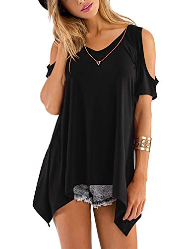 Beluring Bluse Damen Kurzarm Oberteil Frauen Off Shoulder Top Sommer T-Shirt,Schwarz 2XL
