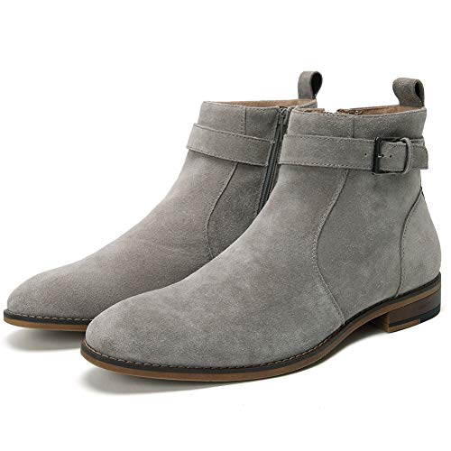 Cestfini Buckle Suede Chelsea Boots for Men Genuine Leather Dress Boots with Side-Zipper, Casual Waterproof Ankle Boots DAVE004-GREY-10.5