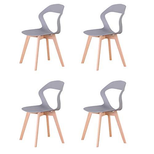 GroBKau - Juego de 4 sillas con respaldo de plástico para salón, comedor, oficina, sala de reuniones, restaurante, etc.