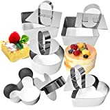 Set of 10 Cake Ring Mold Stainless Steel Dessert Mousse Cooking Molds Pancake Pastry Pan with Pusher & Lifter Cooking Rings