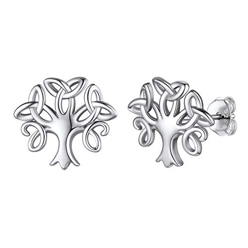925 Sterling Silver Family Tree of Life Earrings Celtic Trinity Knot Triquetra Tiny Stud Earrings for Women Girl Irish Jewelry for Mother Daughter Girlfriend Sister Wife