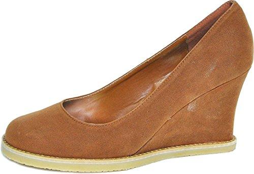 Unbekannt Damen Schuhe Vintage Suede Keilabsatz Wedges Camel Plateau 40