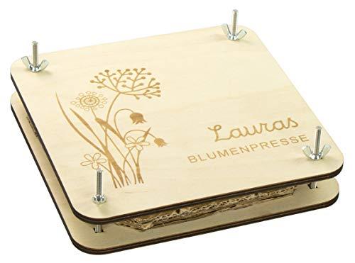 LAUBLUST Blumenpresse Personalisiert - Blumen Motiv - Holz, 20x20cm | Sammeln & Basteln | Geschenk Kinder & Erwachsene