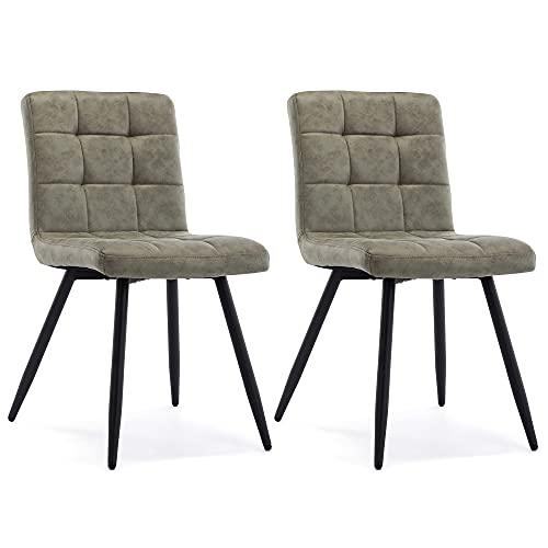 HNNHOME® Juego de 2 sillas de comedor tapizadas Cubana, patas de metal de acero negro fuerte, sala de estar, recepción, sala, tela)