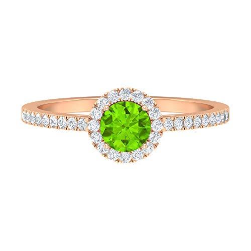 Anillo de halo solitario de 1 quilate, 5 mm, anillo de kriptonita creado en laboratorio, anillo de halo de diamante HI-SI, anillo de compromiso de piedra lateral, oro de 14 quilates. verde
