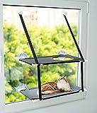 Cama para gatos ventana- Hamaca gato ventana de doble pisos con agujero en el piso de arriba para que sea más dinámico y divertido para tu mascota-Gato cama ventana funcional- Cama colgante hasta 15kg