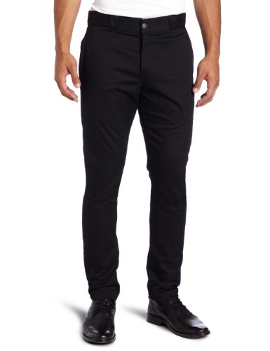 Dickies Men's Skinny Straight Fit Work Pant, Black, 34x32