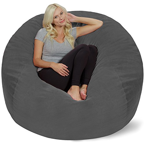 Chill Sack Bean Bag Chair: Giant 5' Memory Foam Furniture Bean Bag - Big Sofa with Soft Micro Fiber Cover - Grey Pebble