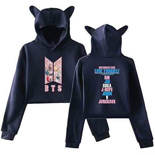 BTS Kpop - Sudadera con capucha para niñas, diseño de orejas de gato