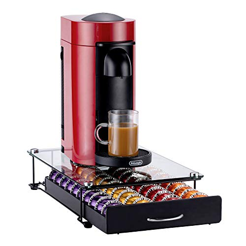 Coffee Pod Storage Drawer Organizer Rack for Coffee Nespresso VertuoLine Coffee Pod Capsules Holder Large Glass Pod Drawer Single Serve Storage Tray Black (40 Capsules Holder)