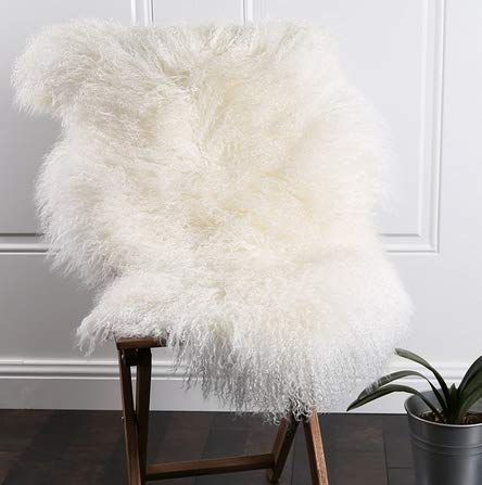 Genuine Mongolian Tibetan Lamb Sheepskin Wool Area Rug Real Carpet Curly Fur Pelt Throw Soft Plush Home Decorative 3.5x3.7Ft