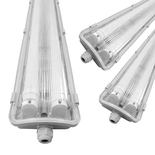 proventa® Luminaria pantalla estanca LED IP65 120 cm. Tubos LED incluidos 4.000K 36W 3.600 lúmenes. Protección IK08. Clase energética A+. Set ahorro 3 unidades