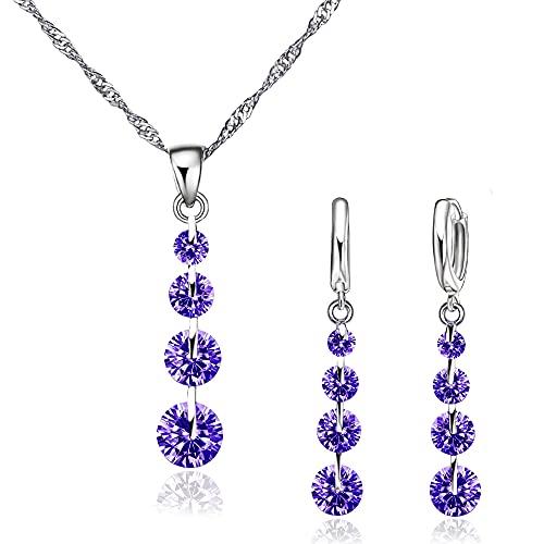 Conjunto de Joyas de plata 925 para Mujer, Juego de Collar y Pendientes con Circonitas, Regalo para Mujer (Morado)