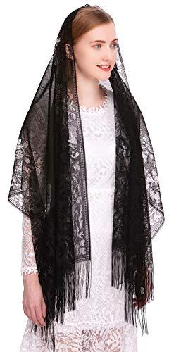 Pamor Chapel Veil Scarf Mantilla Veils Rectangular Wrap Shawl Mass Head Covering with Fringe Trim (Black)