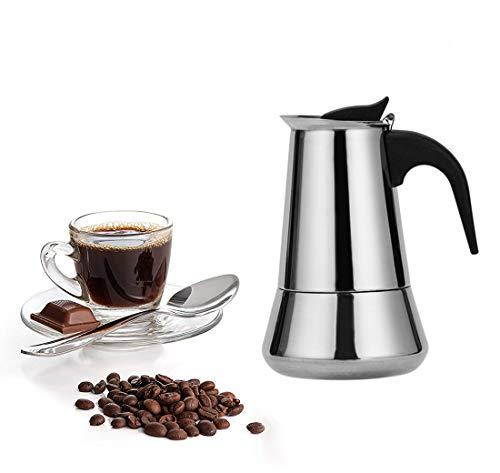 QiaoJia Cafetera de espresso de acero inoxidable con filtro para casa u oficina en 4 tamaños disponibles 12 tazas