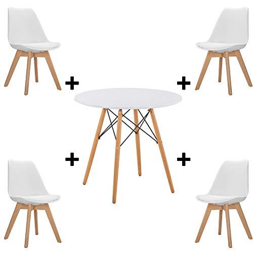 Juego de mesa y sillas de comedor con mesa de comedor y 4 sillas de tulipan de plastico con cojines de poliuretano para sala de estar, comedor, escritorio