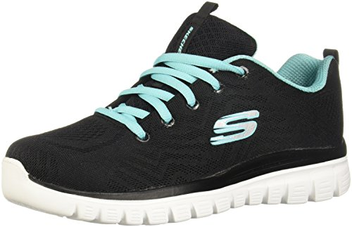 Skechers Graceful-Get Connected, Zapatillas Mujer, Negro (BKTQ Black/Turquoise Trim), 38 EU