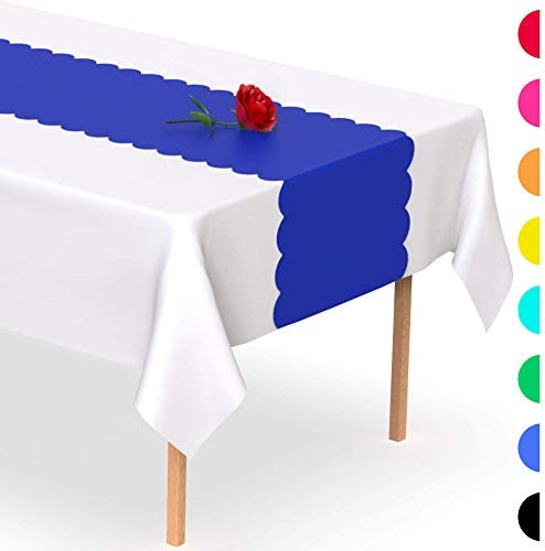Royal Blue Scallop Disposable Table Runner 5 Pack 14 x 108 inch Adhesive Strips Secure The Plastic product image