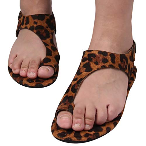 Purchase Women Open Toe Flats Sandals Leopard Print Roman Beach Sandals Fashion Ankle Buckle Slingba...