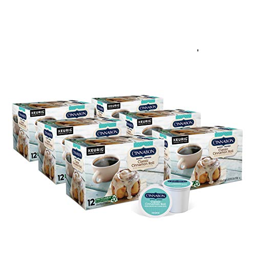 Cinnabon Classic Cinnamon Roll, Single-Serve Keurig K-Cup Pods, Flavored Coffee, 72 Count