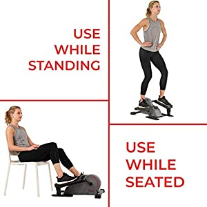 Sunny Health & Fitness Portable Stand Up Elliptical - SF-E3908, Gray