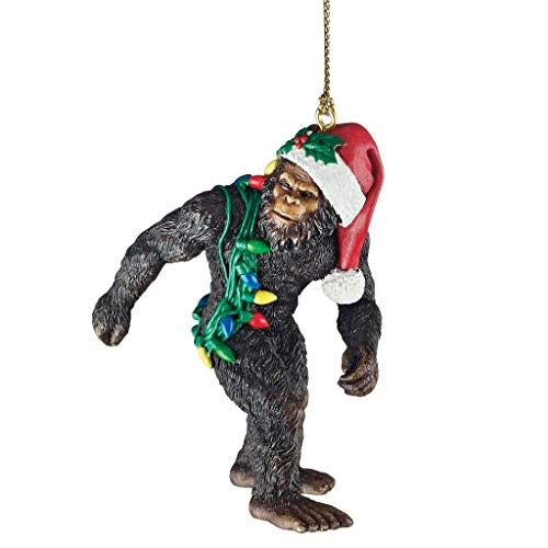 Design Toscano DB383084 Bigfoot, the Christmas yeti with Sabta's hat Funny Christmas tree decoration, polyresin, full color, 7.5 cm,Brown