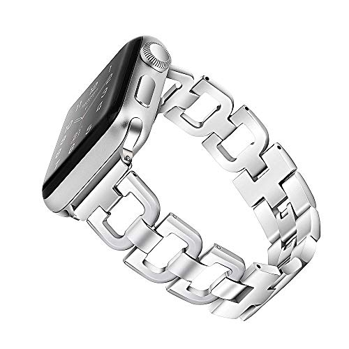OULUCCI Compatible with Apple Watch Band 38mm 40mm Women iWatch Series 6, SE, Series 5, Series 4, Series 3, Series 2 1 Accessories Stainless Steel Wristband D-Link Sport Strap Silver (No Tool Needed)