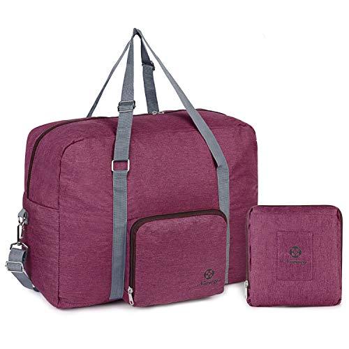 Faltbare Duffel Taschen Reise-Gepäck Leichter Sporttasche Handgepäck für Weekender Herren Damen (Rot-1)