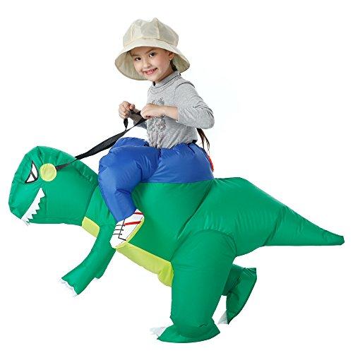 YEAHBEER Inflatable Dinosaur Costume T-Rex Fancy Dress Halloween Blow up Costumes Adult (Green Dinosaur Kid)