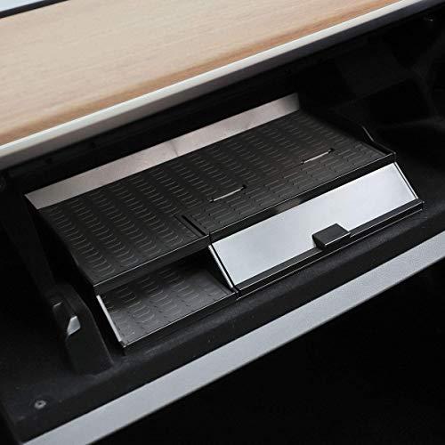 L&U Car Mittelarmlehne Box Verstauen Aufräumen Glove Box Doppel-Storey Griffige für 2018-2019 Tesla Model 3