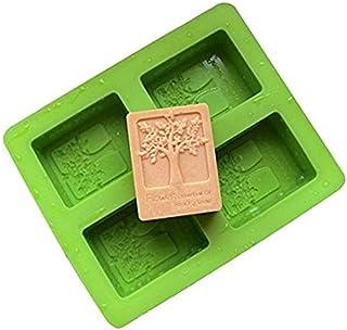 Moule à savon en silicone 4 cavités avec motif arbre à fleurs