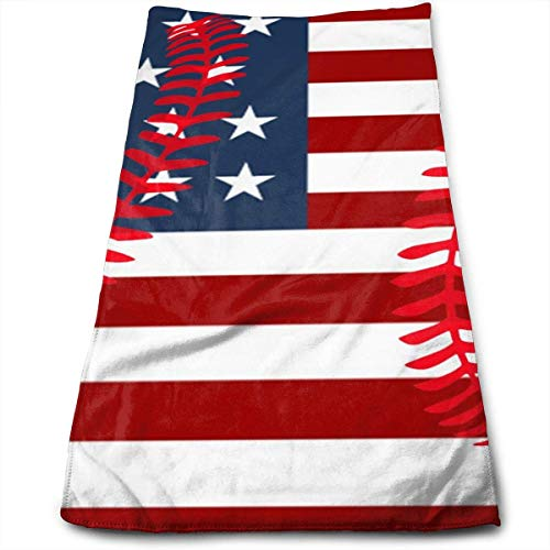 wteqofy USA Flag Baseball Lace Bath Hand Towels Dish Cloth Machine Washable Kitchen Towels Tea Towels for Drying Cleaning Cooking Baking