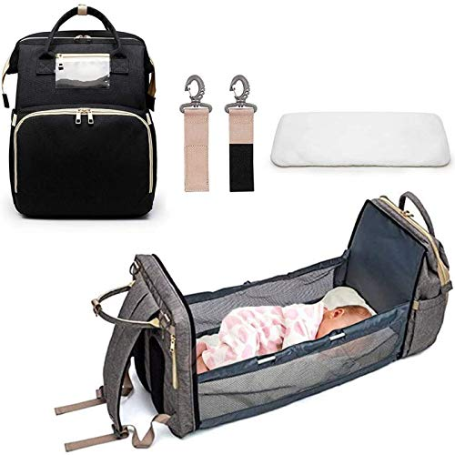YUUY 2 in 1 Fashion Diaper Bag ,Multifunctional Folding Stroller Backpack Bed Mummy Folding Crib Bags Portable Maternity Diaper Pack (Color : A)