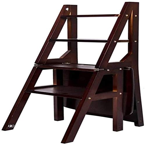 Suge Wooden Ladder Stool Folding Ladder Stool Stairs Multifunction Dual Use Home Renovation Bookshelf 4 Steps Stool (Color : C, Size : -)