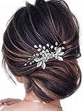 Peine para el pelo de la boda de Mayelia con perlas y diamantes de imitación, para mujeres y niñas