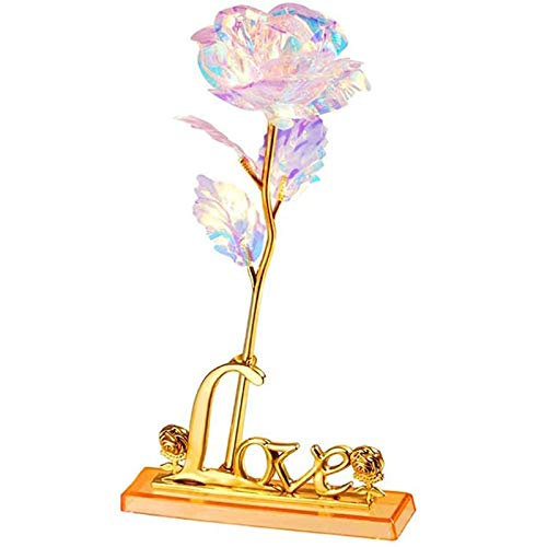 SESEAT Gifts for Mom Rainbow Rose Flower, Mothers Day Present, Women Gifts, 24K Artificial Rose Flowers with Gift Box for Women,Valentines Gifts, Birthday Gifts for Mom