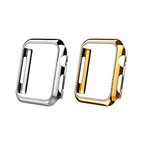 MoKo 2-PZS Funda Protectora Compatible con Apple Watch 40mm Series 6/5/4/SE, Cubierta Complecta Parachoques Diamantes de Cristal Bling Case para iWatch Accesorio de Decoración - Oro Rosa+Plata