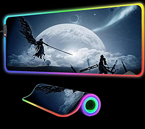 Mouse Pads Final Fantasy Game RGB Mouse Pad Gaming Computer RGB Large Gaming Gamer Carpet Big Led Play Desk Mat,27.55 inch x12 inch