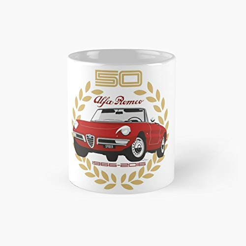 Alfa Romeo Spider 50 Years Classic Mug Best Gift Funny Coffee Mugs 11 Oz
