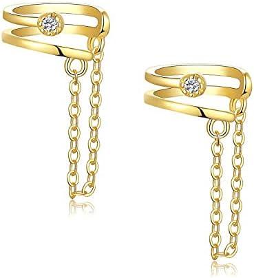 Women Ear Cuff Earrings Tulsa Mall Sterling Chain Max 51% OFF Silver Earring Gold